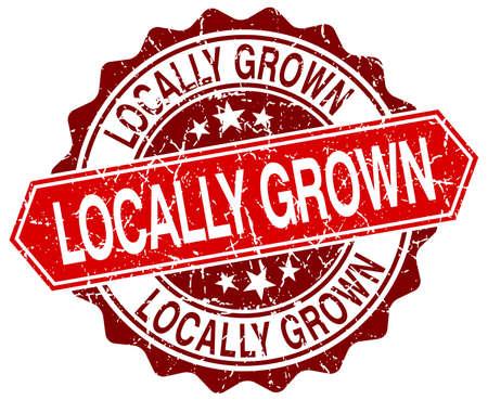 grown: locally grown red round grunge stamp on white