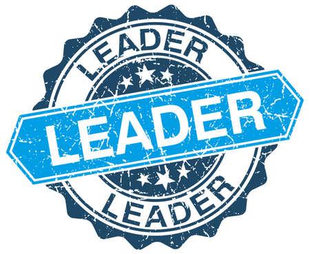 the leader: leader blue round grunge stamp on white