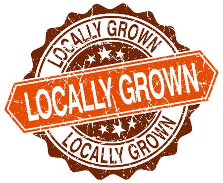 grown: locally grown orange round grunge stamp on white