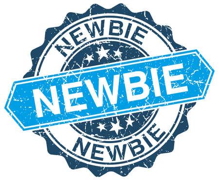 newbie: newbie blue round grunge stamp on white
