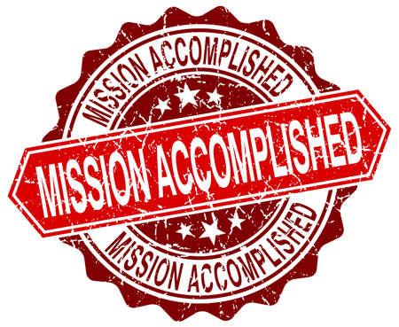 accomplish: mission accomplished red round grunge stamp on white