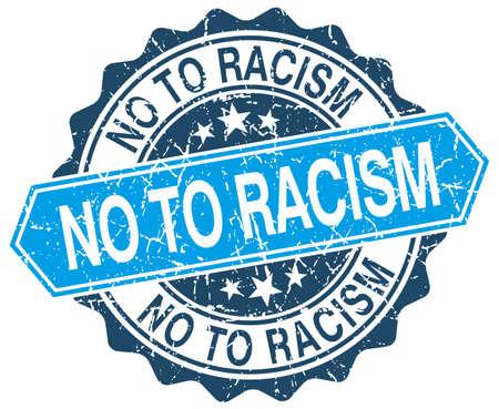 racismo: no al racismo azul grunge sello redondo en blanco Vectores