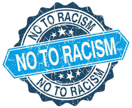 racism: no to racism blue round grunge stamp on white Illustration