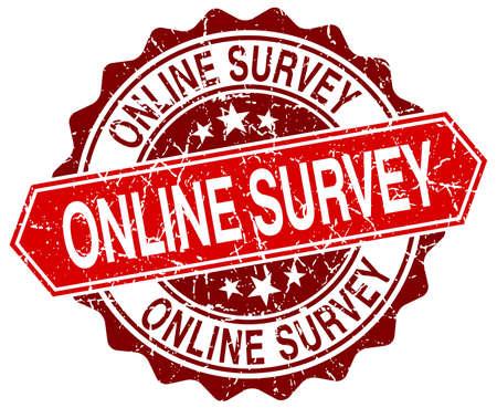 online survey: online survey red round grunge stamp on white