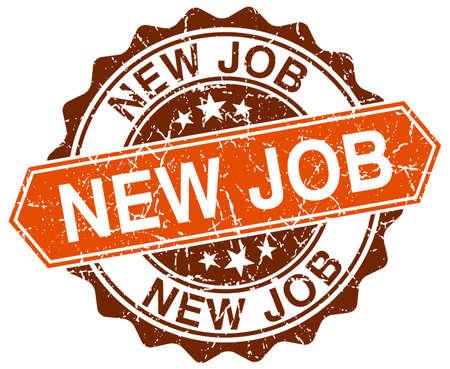 new job: new job orange round grunge stamp on white