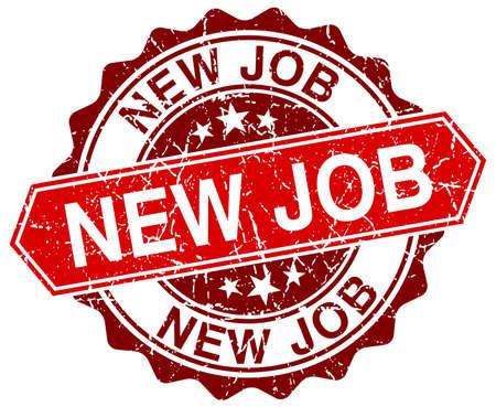 new job: new job red round grunge stamp on white
