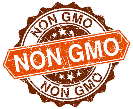 non: non gmo orange round grunge stamp on white