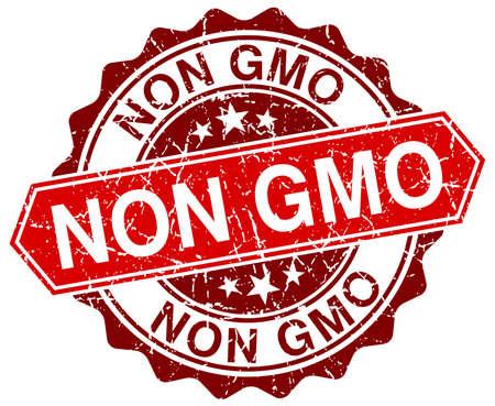 gmo: non gmo red round grunge stamp on white