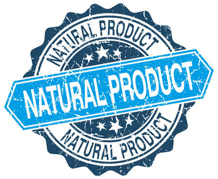 natural product: natural product blue round grunge stamp on white