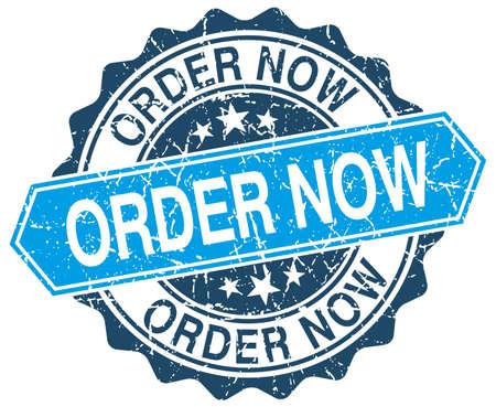 order now: order now blue round grunge stamp on white