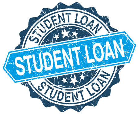 student loan: student loan blue round grunge stamp on white