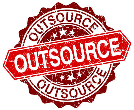 outsource: outsource red round grunge stamp on white