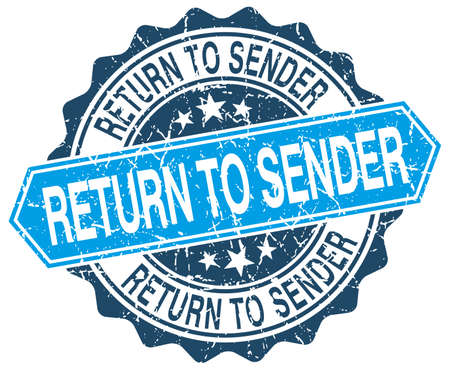return: return to sender blue round grunge stamp on white Illustration
