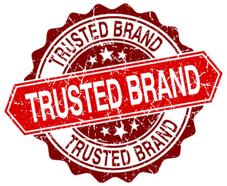 trusted: trusted brand red round grunge stamp on white Illustration
