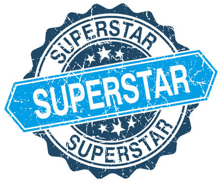 superstar: superstar blue round grunge stamp on white