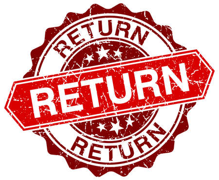 return: return red round grunge stamp on white