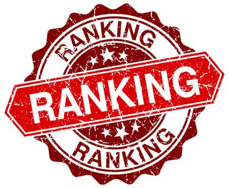 ranking: ranking red round grunge stamp on white Illustration