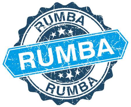 rumba: rumba blue round grunge stamp on white Illustration
