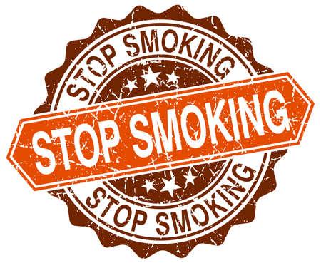 stop smoking: stop smoking orange round grunge stamp on white