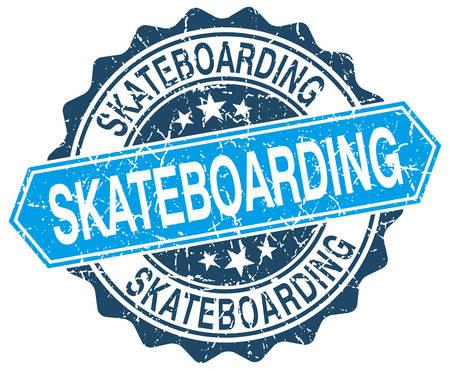 skateboarding: skateboarding blue round grunge stamp on white