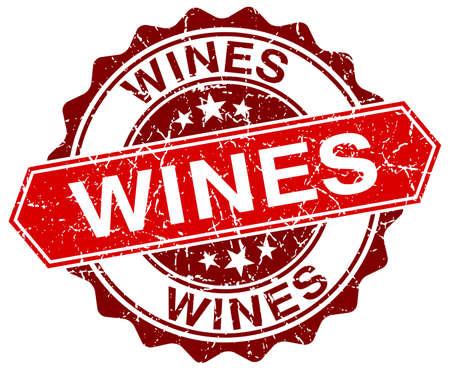 wines: wines red round grunge stamp on white