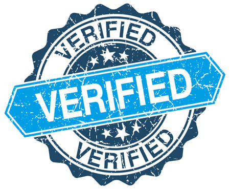 verified: verified blue round grunge stamp on white