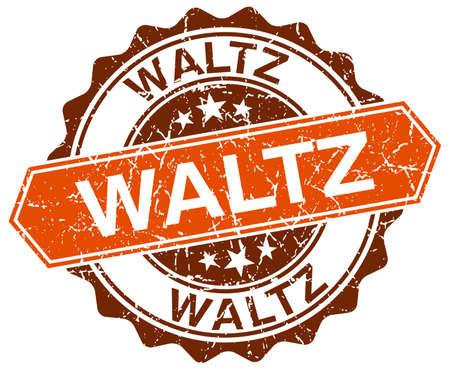 waltz: waltz orange round grunge stamp on white