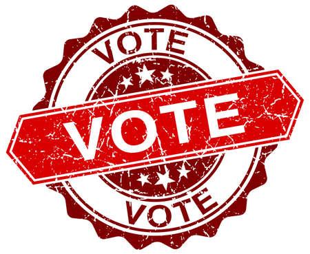 democrats: votar rojo del sello del grunge redonda sobre blanco Vectores