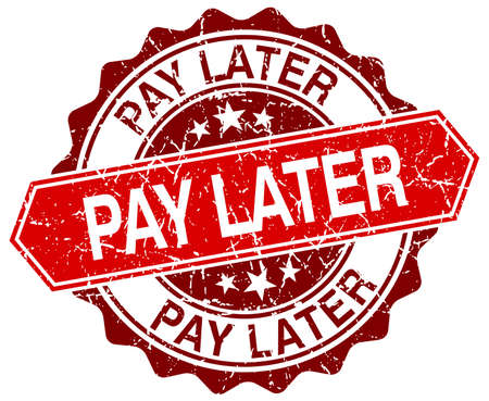 later: pay later red round grunge stamp on white Illustration