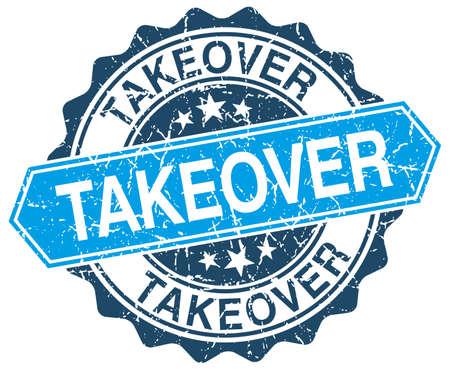 takeover: takeover blue round grunge stamp on white Illustration
