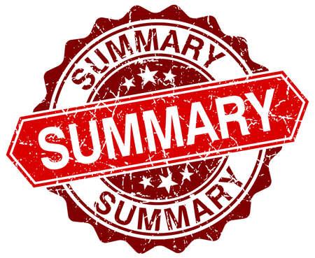 summary: summary red round grunge stamp on white