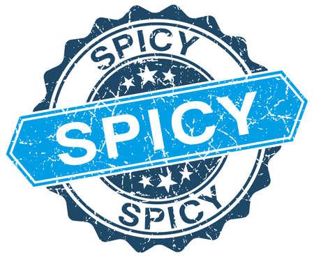 spicy: spicy blue round grunge stamp on white