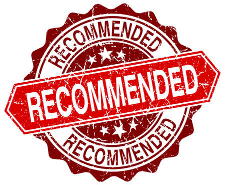 recommended: recommended red round grunge stamp on white