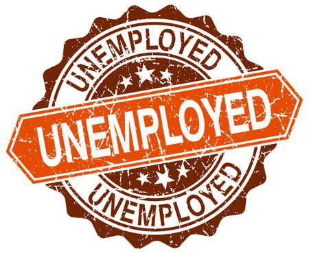 jobless: unemployed orange round grunge stamp on white