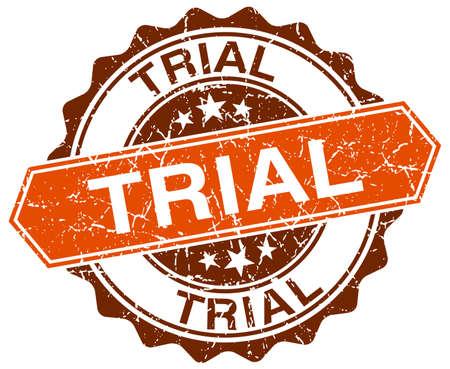 trial orange round grunge stamp on white Illustration