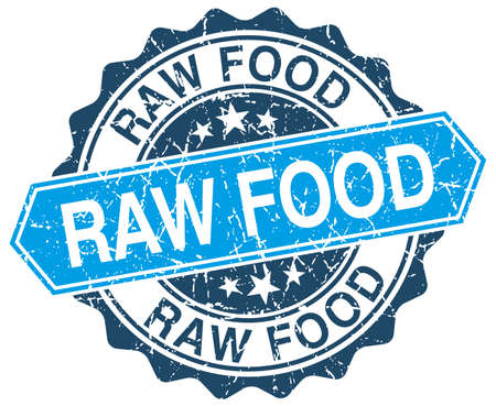 raw food: raw food blue round grunge stamp on white