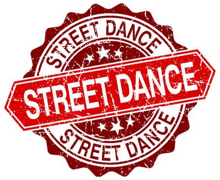 street dance: street dance red round grunge stamp on white Illustration