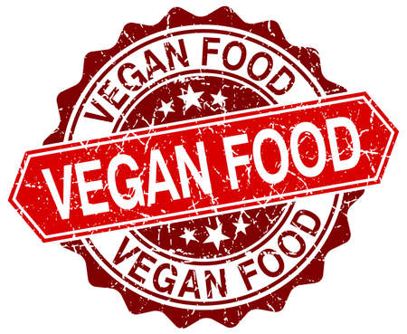vegan food: vegan food red round grunge stamp on white