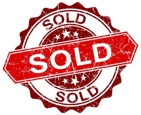 sold: sold red round grunge stamp on white