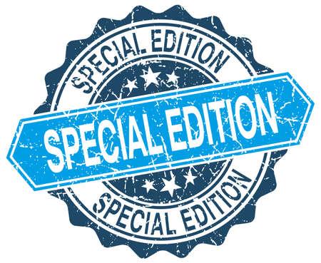 edizione straordinaria: edizione speciale rotonda blu grunge timbro su bianco Vettoriali