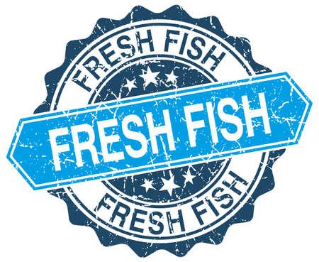 fresh fish: fresh fish blue round grunge stamp on white