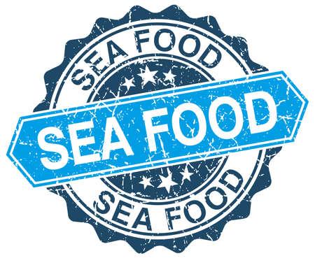 sea food: sea food blue round grunge stamp on white