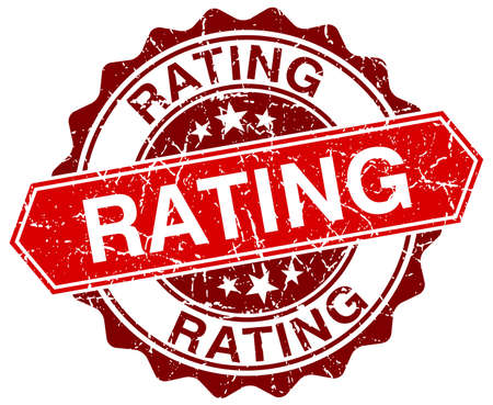 rating: rating red round grunge stamp on white