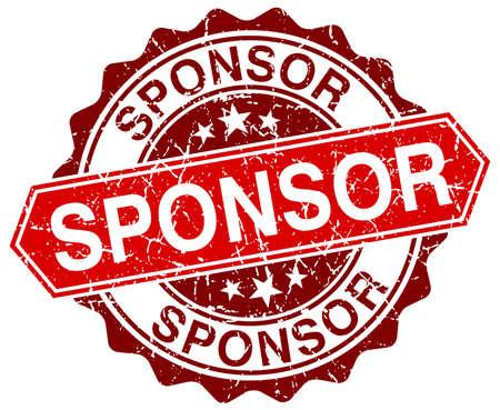 sponsor: sponsor red round grunge stamp on white Illustration