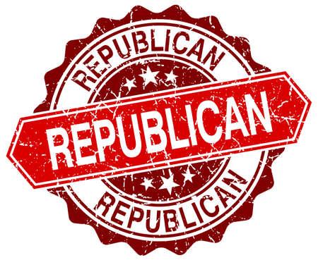 democrats: republicano rojo grunge sello redondo en blanco Vectores
