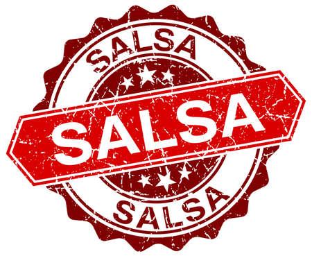 salsa: salsa red round grunge stamp on white Illustration