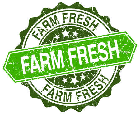 farm fresh: farm fresh green round retro style grunge seal Illustration