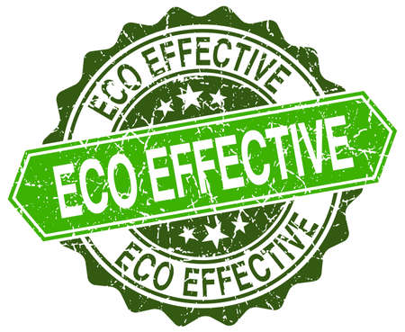 effective: eco effective green round retro style grunge seal