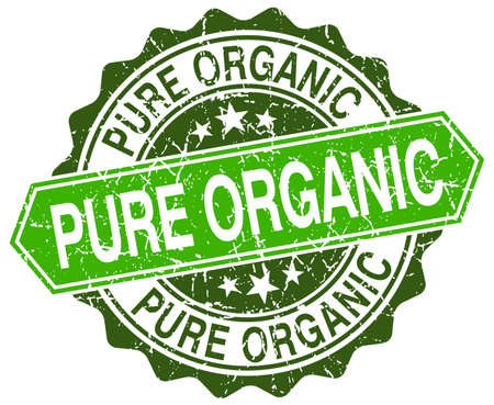 pure: pure organic green round retro style grunge seal Illustration
