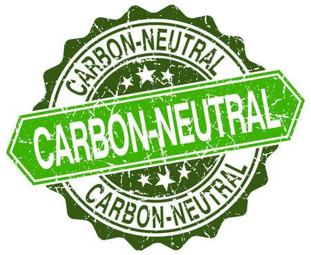 co2 neutral: carbon-neutral green round retro style grunge seal